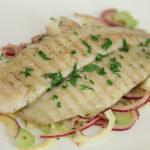 File bijele ribe na salati s komoračem