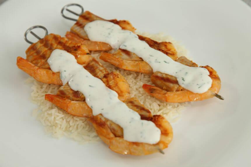 Morski ražnjići s grila s rižom - Fini Recepti by Crochef