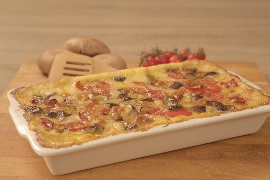 Palenta sa šampinjonima, paprikom i mini rajčicama