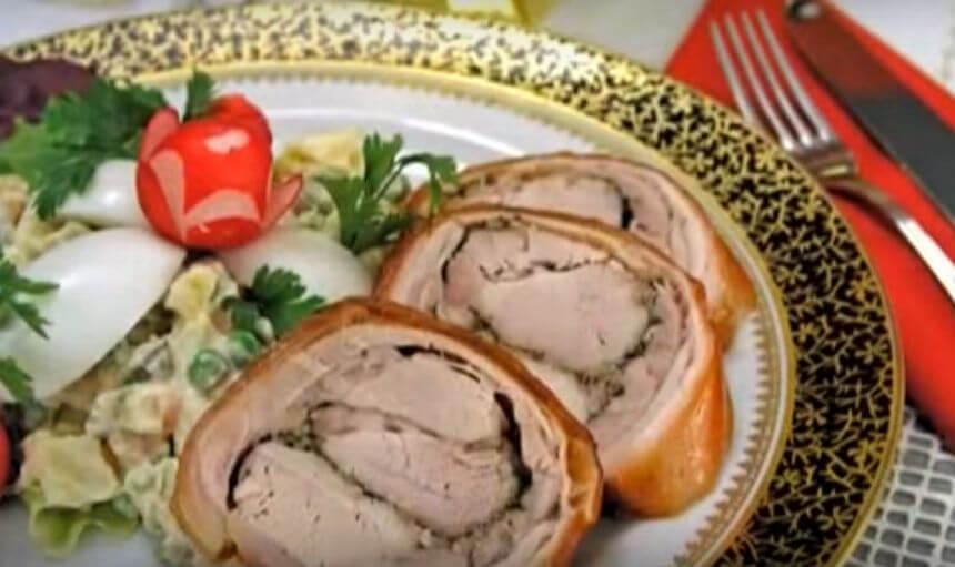 Pečeni rolani odojak sa francuskom salatom
